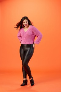 faux leather support legging